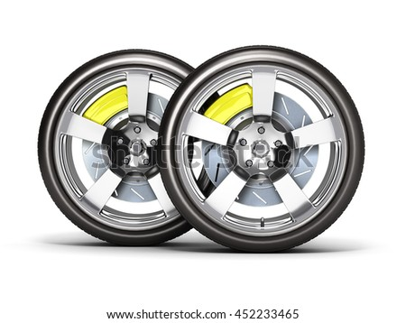 Car wheels with brake isolated on white background 3d