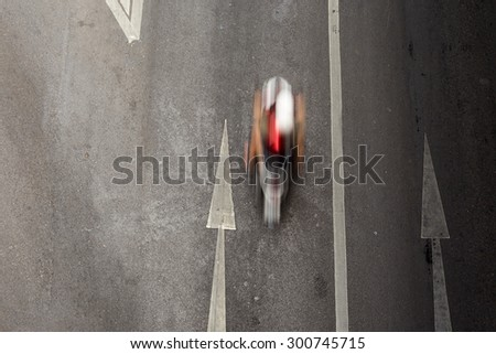 Car,which blur  from moving action, on road in Bangkok Thailand - stock photo