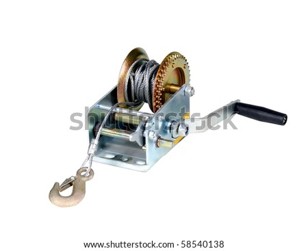 Car winch isolated over white background - stock photo