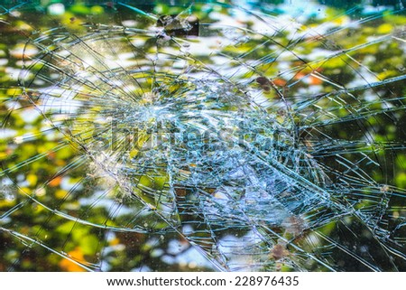 Car window pane, broken after accident - stock photo