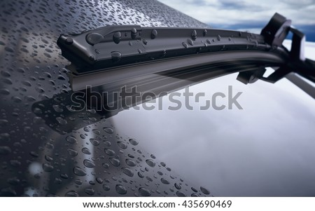 Car windshield with rain drops and frameless wiper blade closeup. 3d render - stock photo