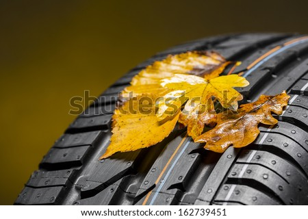 Car winter tires wheel profile with autumn leaves on brown background - stock photo