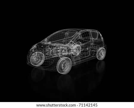Car wire frame model - stock photo