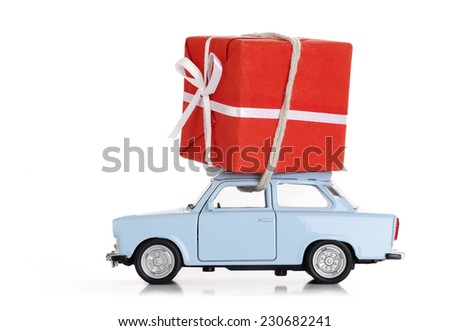 car with christmas present - stock photo