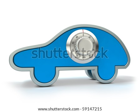 Car with combination safe lock - stock photo