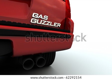 "Car with ""Gas Guzzler"" emblem - stock photo"