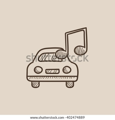 Car with music note sketch icon. - stock photo