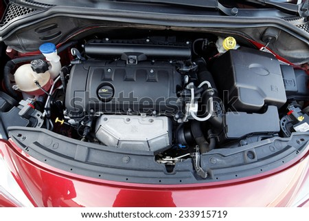 Car with open hood  - stock photo