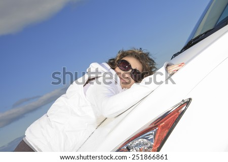 Car. Woman driver happy smiling - stock photo