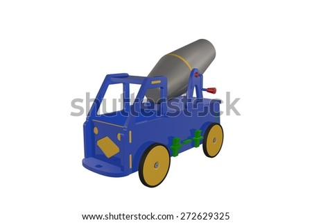 Car - wooden toy cement mixer - stock photo