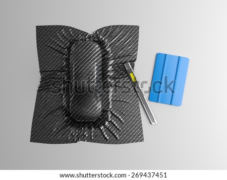 Car wrapping film and tools. High quality  photo realistic render - stock photo
