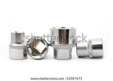 car wrenches isolted on white - stock photo