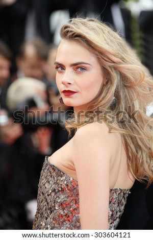 Cara Delevingne attends 'The Search' premiere during the 67th Annual Cannes Film Festival on May 21, 2014 in Cannes, France. - stock photo