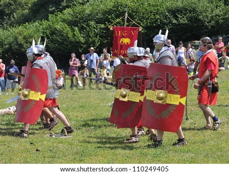 CARABANZO, SPAIN - AUGUST 21: Recreation of the battle between the Romans and Asturian on August 21, 2010 in Carabanzo, Spain. - stock photo