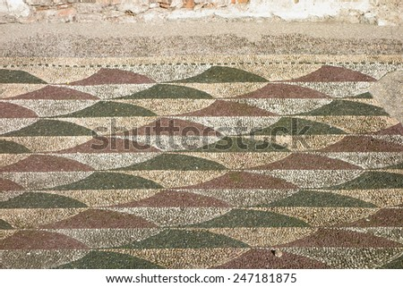 Caracalla baths, ancient Roman mosaic floor, Rome, Italy - stock photo