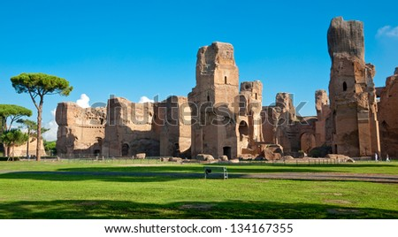 Caracalla springs ruins view from ground panoramic at Rome - Italy - stock photo