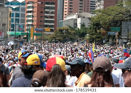 Caracas, Venezuela, February 22, 2014, protests against police repression and government killings of civilians in venezuela