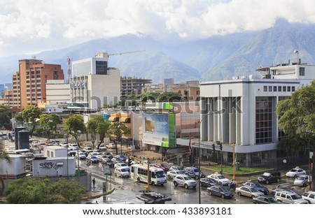 CARACAS, VENEZUELA-JUNE 8, 2016: Skyline and traffic jam at Las Mercedes in the capital city.