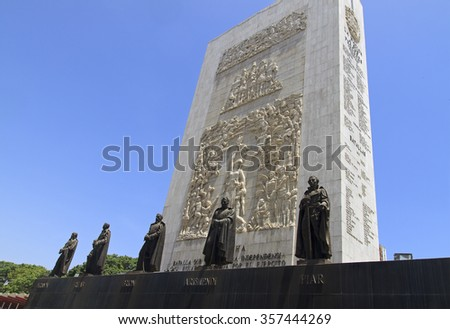 CARACAS, VENEZUELA-MAY 17, 2015: Statues of important Venezuela's independence heroes are seen at the Monumento a Los Proceres. This important monument was built in the it was built in the 1940s. - stock photo