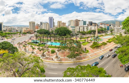 Caracas, Venezuela - November 07, 2015: Panoramic view towards Francia Square (also known as Altamira Square), in the heart of Caracas, capital city of Venezuela.