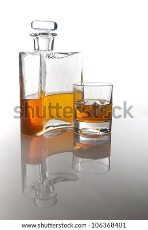 carafe of scotch whisky or bourbon and drink with ice
