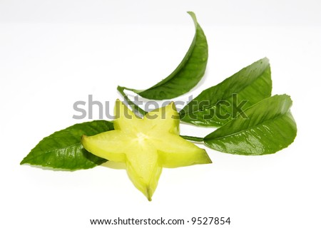 carambola whit green leaf on white backgraund