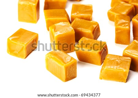 Caramel candy square shape image isolated on a white background - stock photo