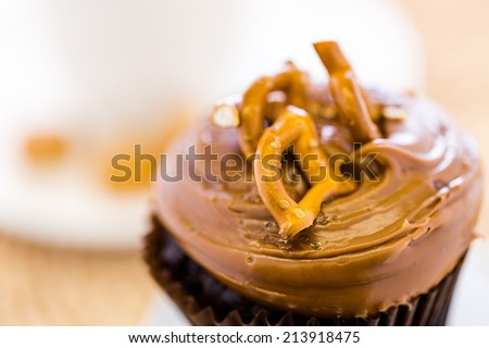 Caramel crunch chocolate cupcake with caramel frosting topped with seasalt and pretzels. - stock photo