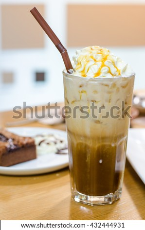 Caramel frappe coffee. Iced coffee. coffee. (In coffee shop) - stock photo
