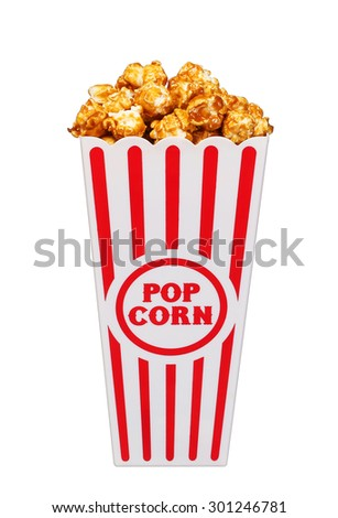 caramel pop corn in striped box bucket isolated on white background