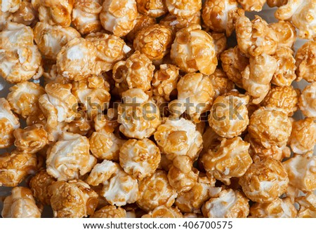Caramel popcorn background - stock photo