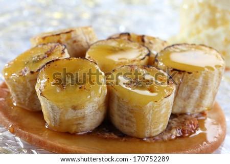 caramelized bananas - stock photo