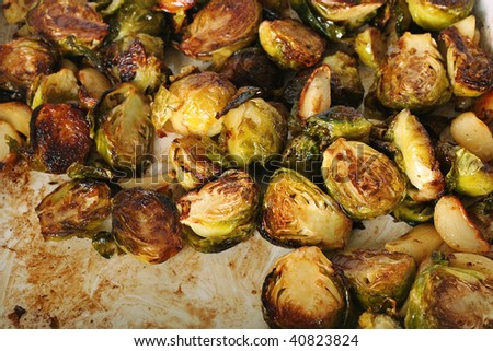 caramelized brussel sprouts - stock photo