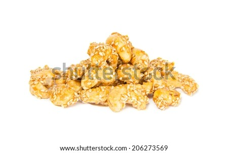 caramelized cashews isolated white background - stock photo
