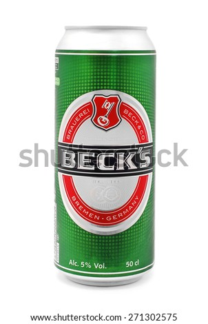 CARANSEBES, ROMANIA - JULY 6, 2014: Beck's beer in can isolated on white, from Beck's Brewery. German brewery in the city of Bremen. The world's best selling German beer, sold in nearly 90 countries - stock photo