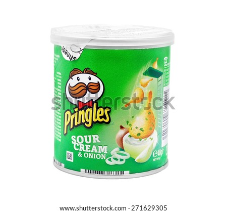 CARANSEBES, ROMANIA - JULY 6, 2011: Pringles potato chips, sour cream & onion. potato and wheat-based stackable snack chips owned by the Kellogg Company. - stock photo