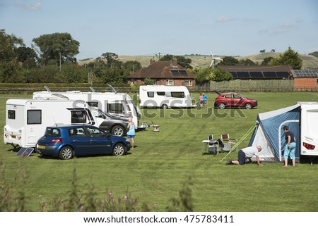 CARAVAN CAMPSITE IN WILTSHIRE UK - AUGUST 2016 - Caravan campsite alongside the Kennet and Avon Canal in the Wiltshire countryside England UK