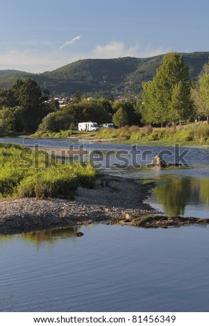 caravan holidays in Ponte de Lima, Portugal - stock photo