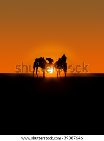 Caravan of two camels with beduin on a background of sunset. - stock photo