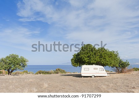 Caravan on camping by the sea