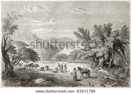 Caravan rest in Marghi forest, Nigeria.  Created by Rouargue after Barth, published on Le Tour du Monde, Paris, 1860 - stock photo