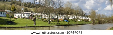 Caravan site next to the river avon evesham worcestershire midlands england uk - stock photo