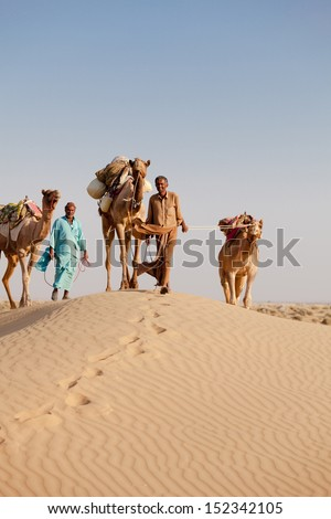 Caravan with bedouins and camels on gold dunes in desert at sunset under clean sky - stock photo