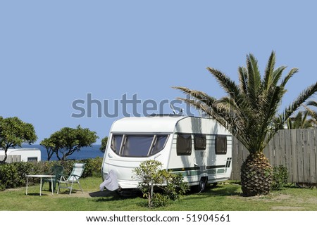 Caravans at camping near the sea - stock photo