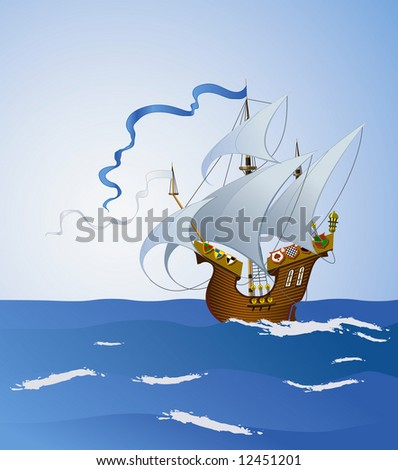 Caravella sails on a sunny day. Rasterized version.  You can find vector Format in my portfolio.