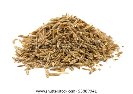 Caraway Seeds Isolated on White Background - stock photo