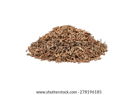 Caraway seeds on white - stock photo
