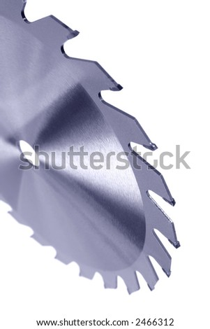 Carbide tipped circular powersaw blade isolated on white background. - stock photo