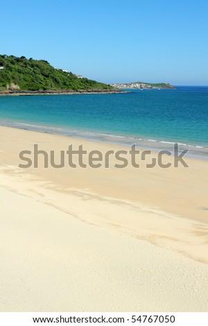 Carbis bay beach in Cornwall UK. - stock photo