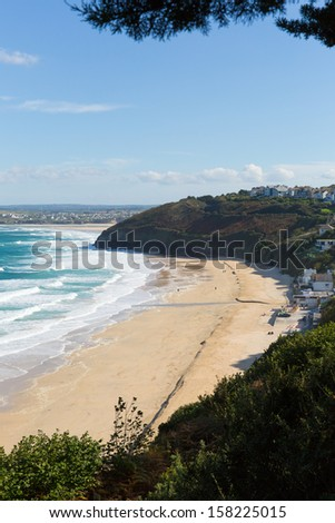 Carbis Bay Cornwall England near St Ives and on the South West Coast Path with a sandy beach on a beautiful sunny day  - stock photo